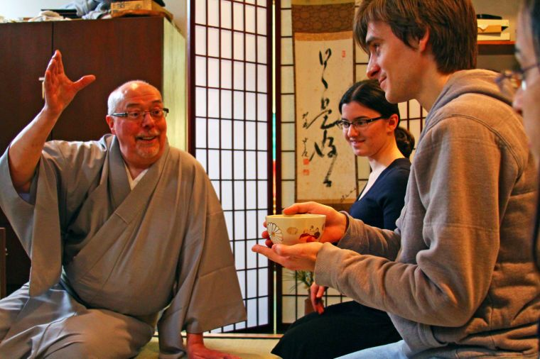 Drew Hanson, left, is a licensed teacher of the Japanese tea ceremony. He travels once a month to teach the ceremony at Penn State U. He's pictured here with two university students. Image and article via collegian.psu.edu