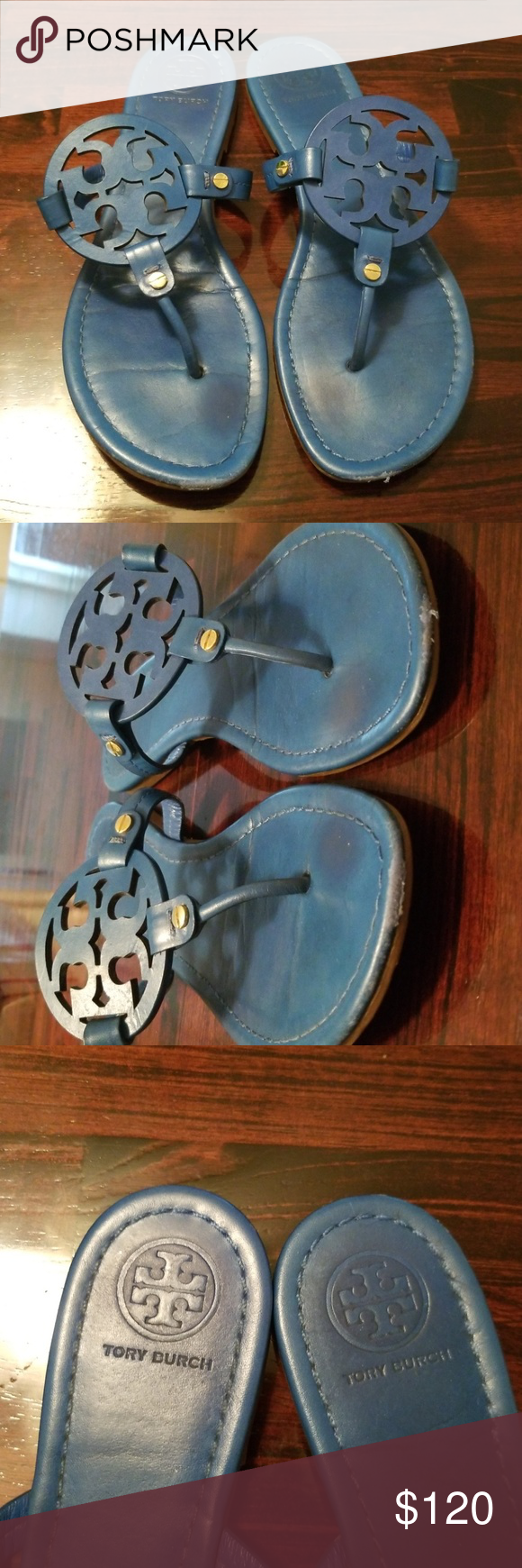 2f05addda61b0c Tory Burch Blue Leather Miller Sandals Size 9.5 Great condition