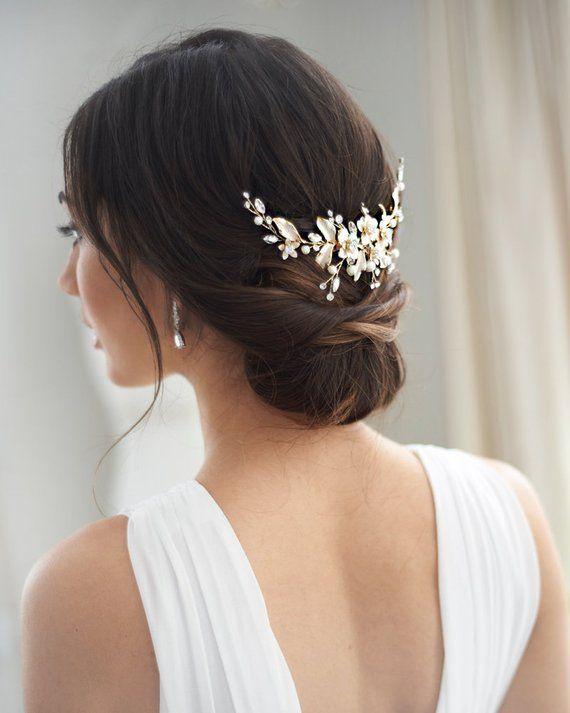 Gold Floral Wedding Back Piece, Pearl Bridal Comb, Gold Flower Comb, Floral Wedding Accessory, Crystal Comb, Rhinestone Gold Comb ~TC-2326 #combs