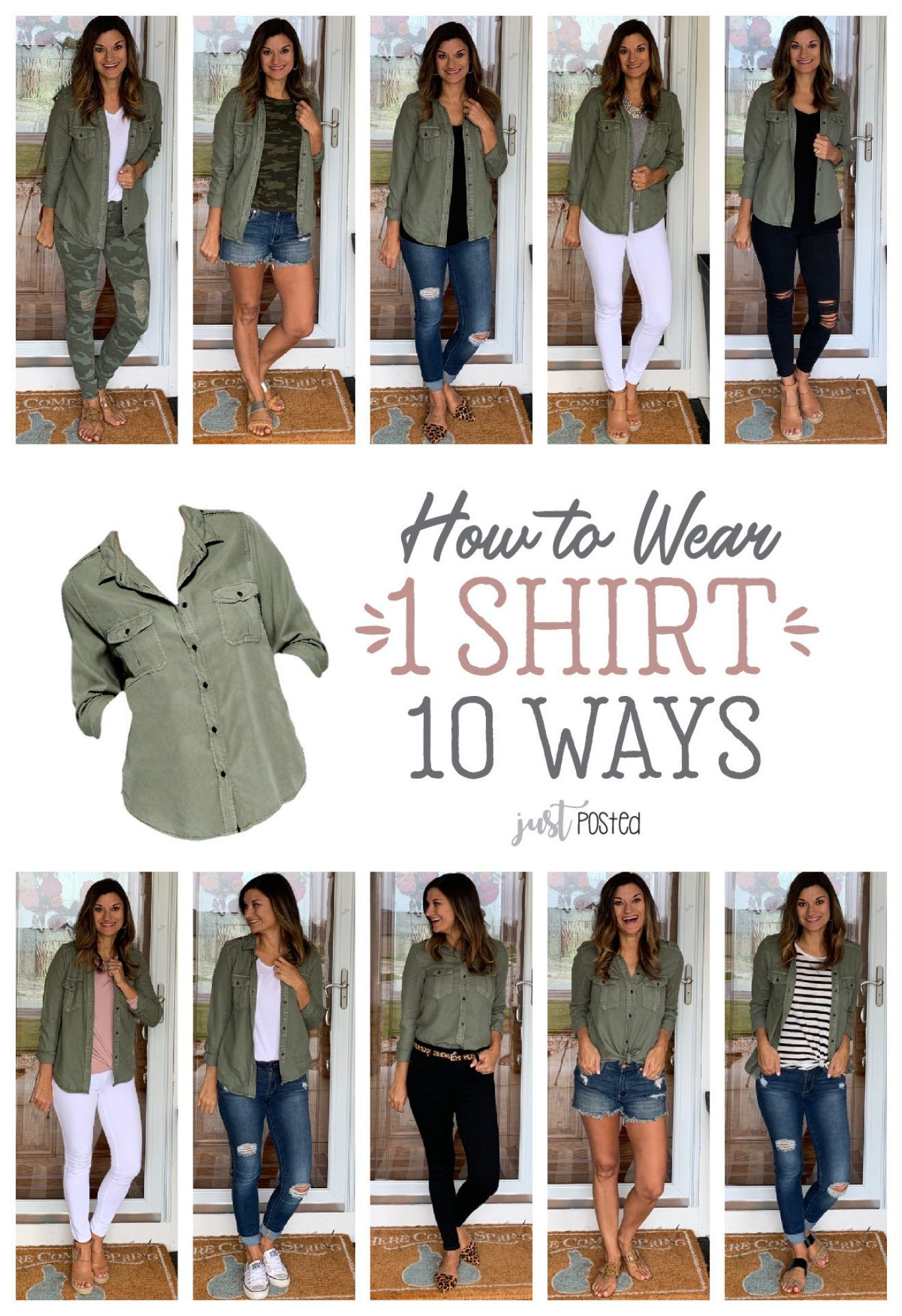 How to Wear One Green Shirt Ten Ways – Just Posted. Perfect piece for a capsule wardrobe and it can easily be dressed up or down! It's under $20 and available in a few different colors! #howtowear