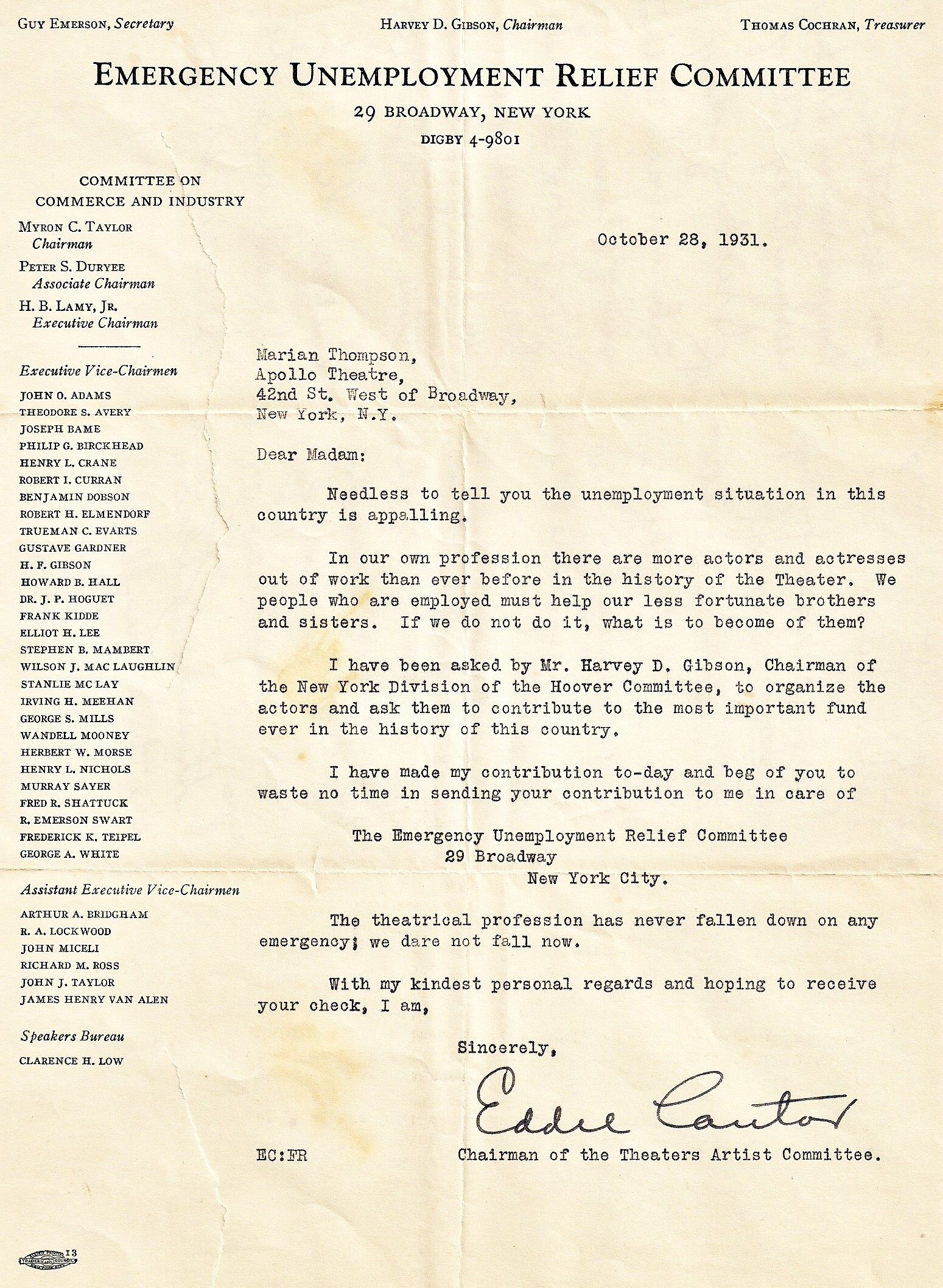 Signed letter from Eddie Cantor, 1931, Employment