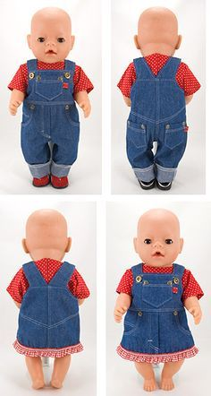 Jeans overall & pinafore pattern, doll sewing pattern for 43cm baby dolls. #dolldresspatterns