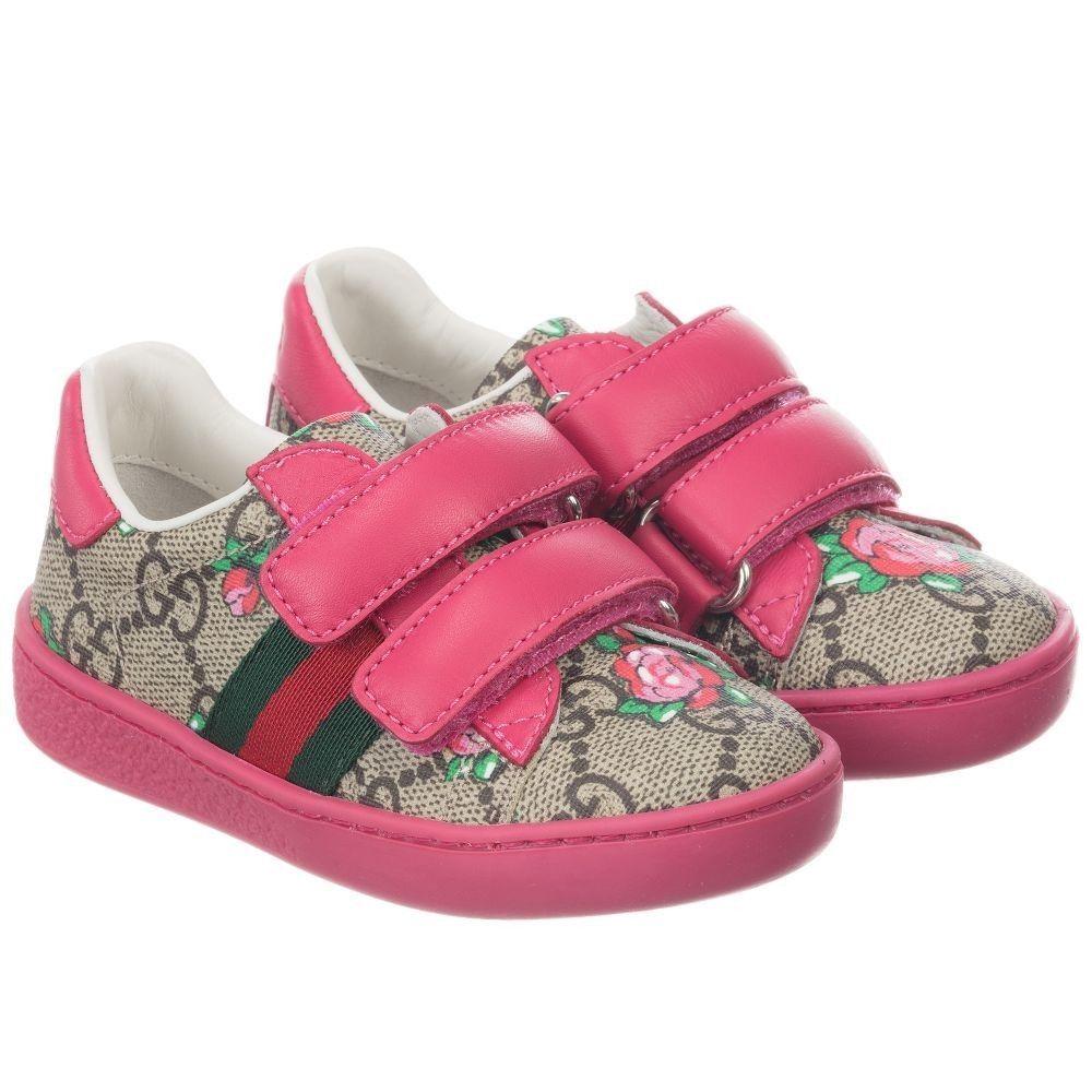 73084a62f Gucci Girls GG Rosebud Sneakers- Size 9.5 Toddler (ITA 26) | Gucci ...