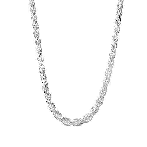"7/"" 3mm Diamond Cut DC FIgaro Link .925 Solid Sterling Silver Charm Bracelet"
