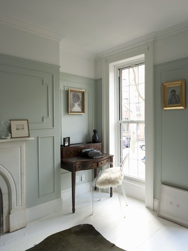 Grey Vintage Bedroom: A Perfect Gray: Super Neutrals **full Window W/ Fireplace