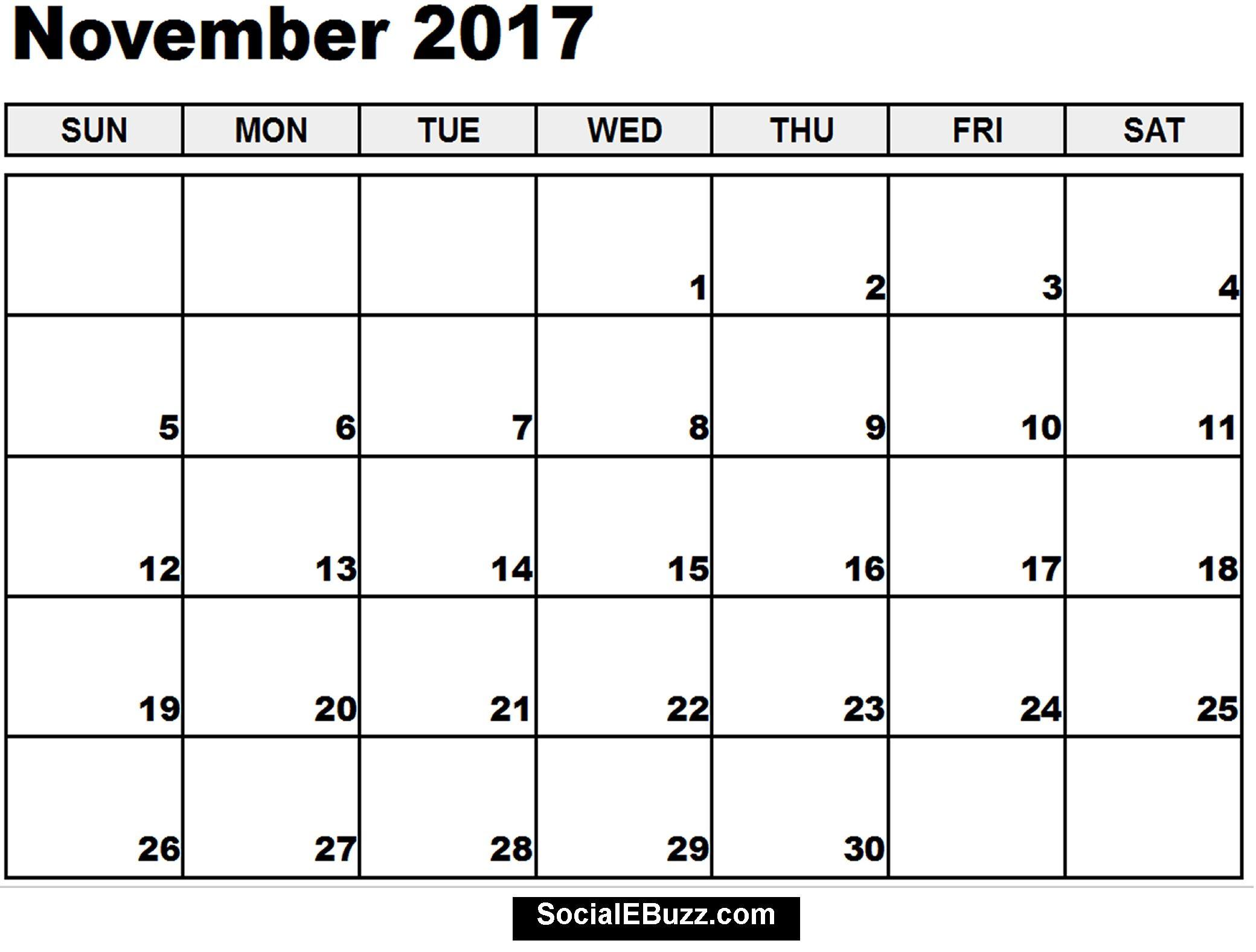 2017 November Calendar Printable http://socialebuzz.com/november ...