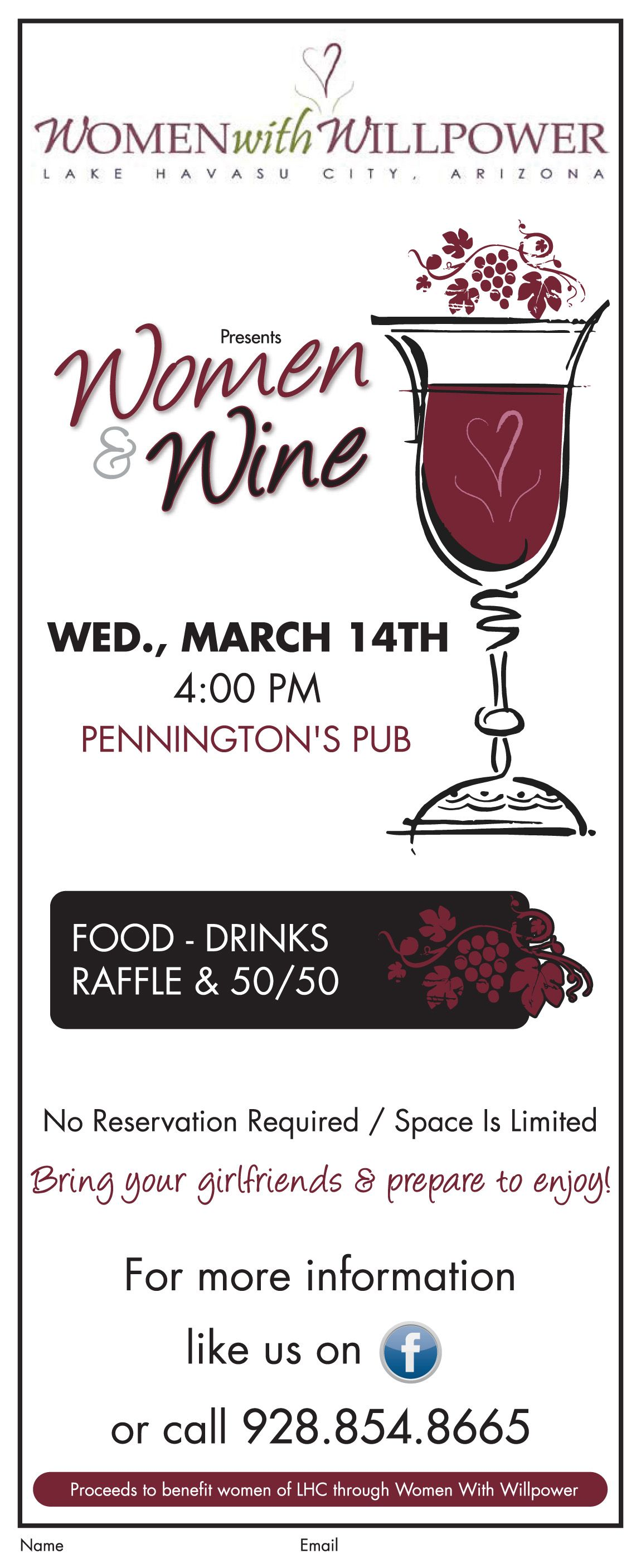 Don T Miss Womenwithwillpower S Women Wine Event On Wednesday March 14th At Penningtonspub The Event Includes Food Drinks Ra Pub Food Drinks Woman Wine