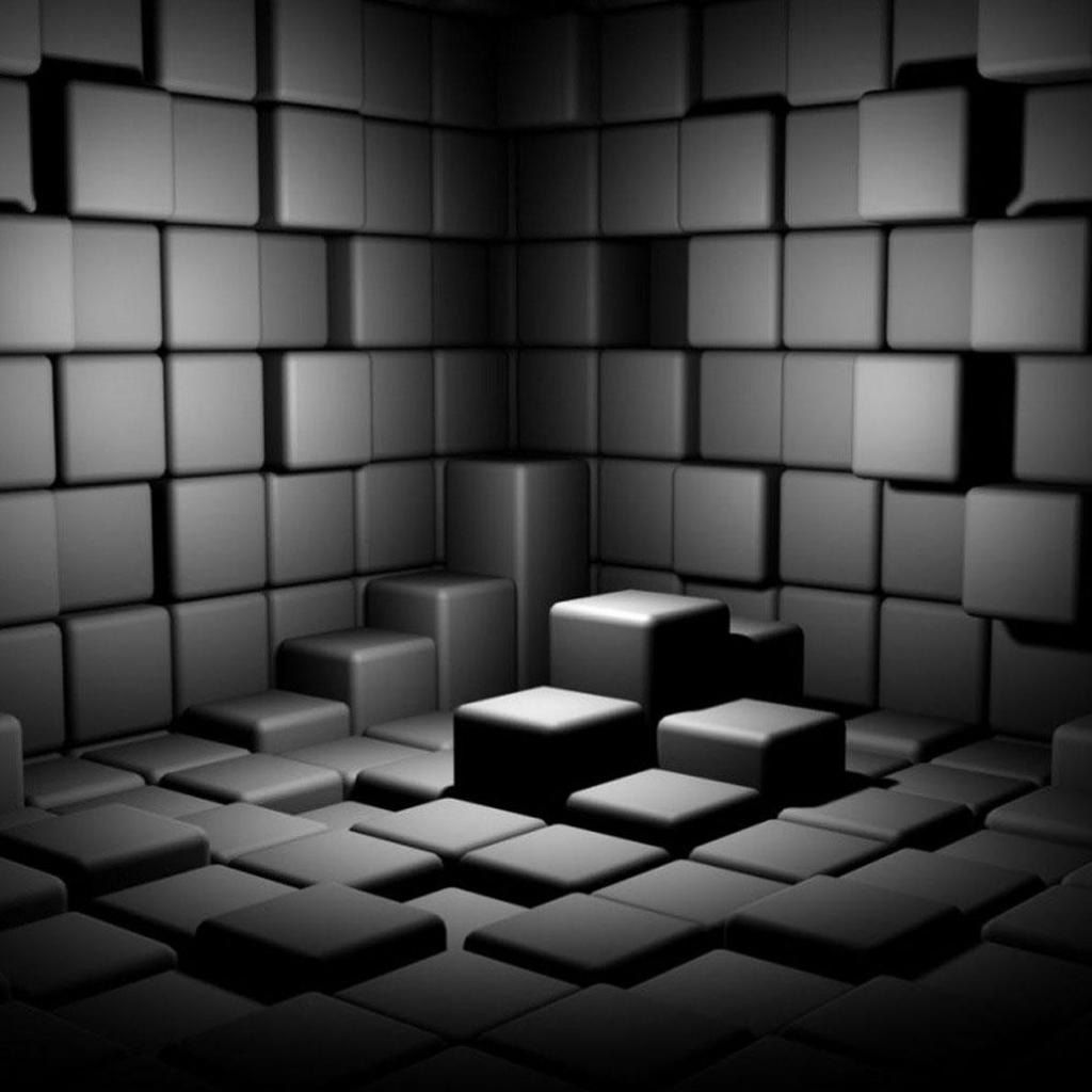 Simple 3D room made of cubic square objects, to use within
