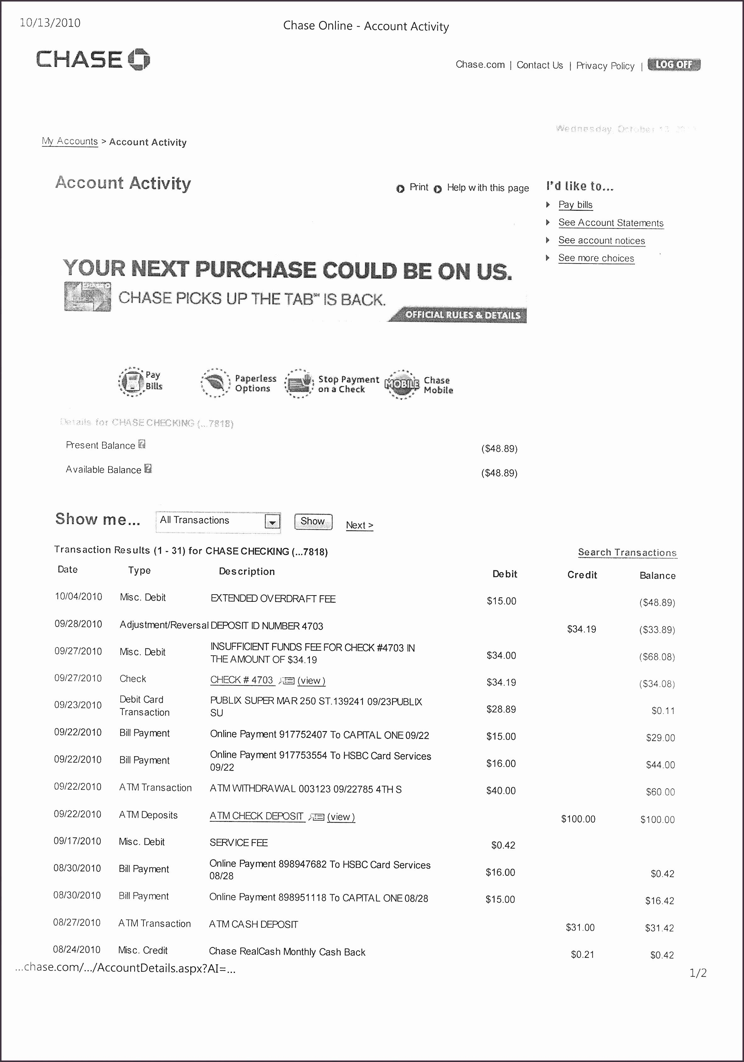 Fake Chase Bank Statement Template Best Of 028 Bank Statement
