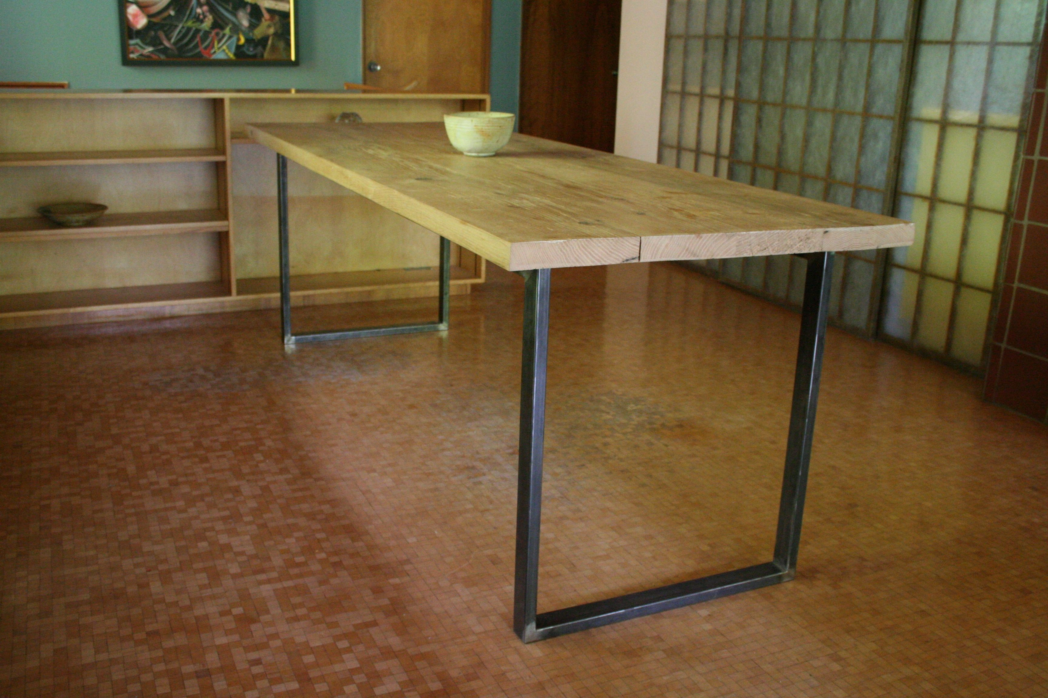 Red Oak And Steel Dining Room Table 90 Long X 32 Wide X 30 Tall