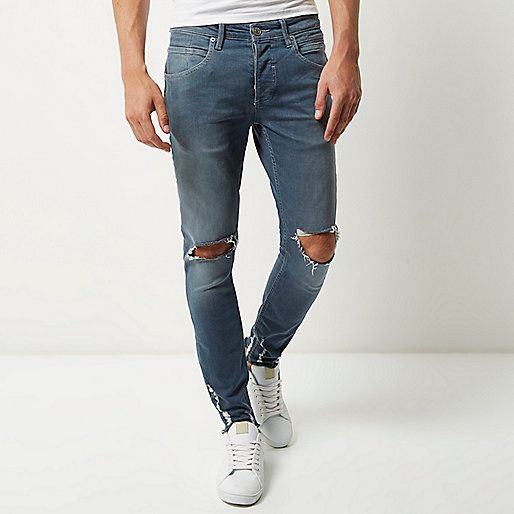 0647296561 Mid blue wash ripped Sid skinny jeans - skinny jeans - jeans - men ...