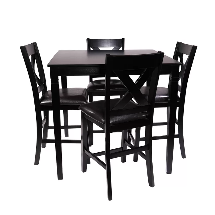 Farhat 5 Piece Counter Height Dining Set Counter Height Dining Sets Square Kitchen Tables Solid Wood Dining Set 5 piece counter height dining set black