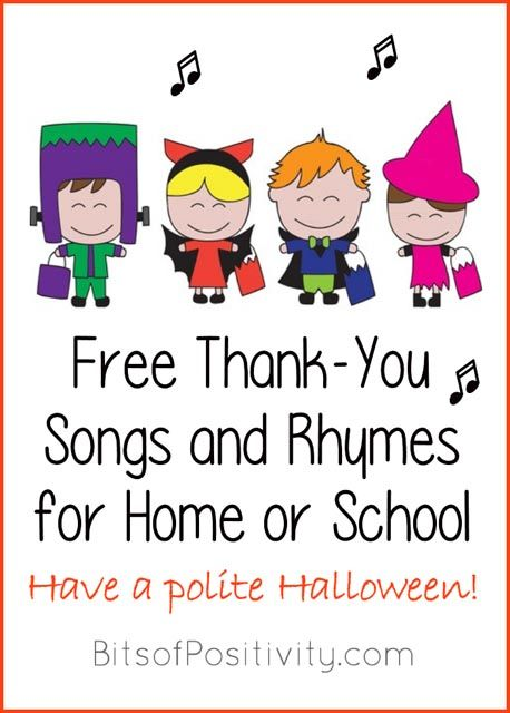 Free Thank You Songs And Rhymes For Home Or School Thank You