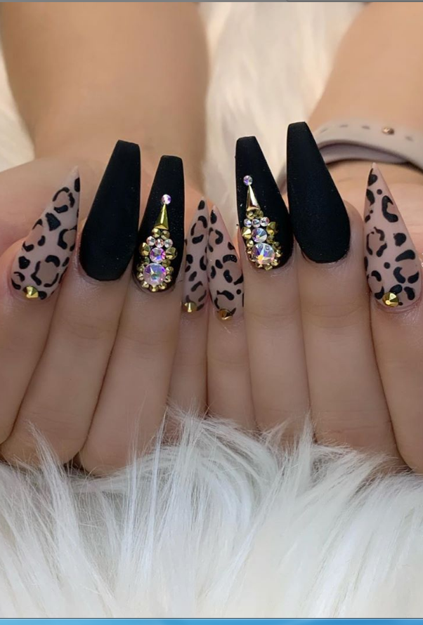 29 Beautiful Acrylic Coffin Nails Design Ideas For Fall Page 5 Of 29 Lily Fashion Style Sparkle Nails Leopard Nails Coffin Nails Designs