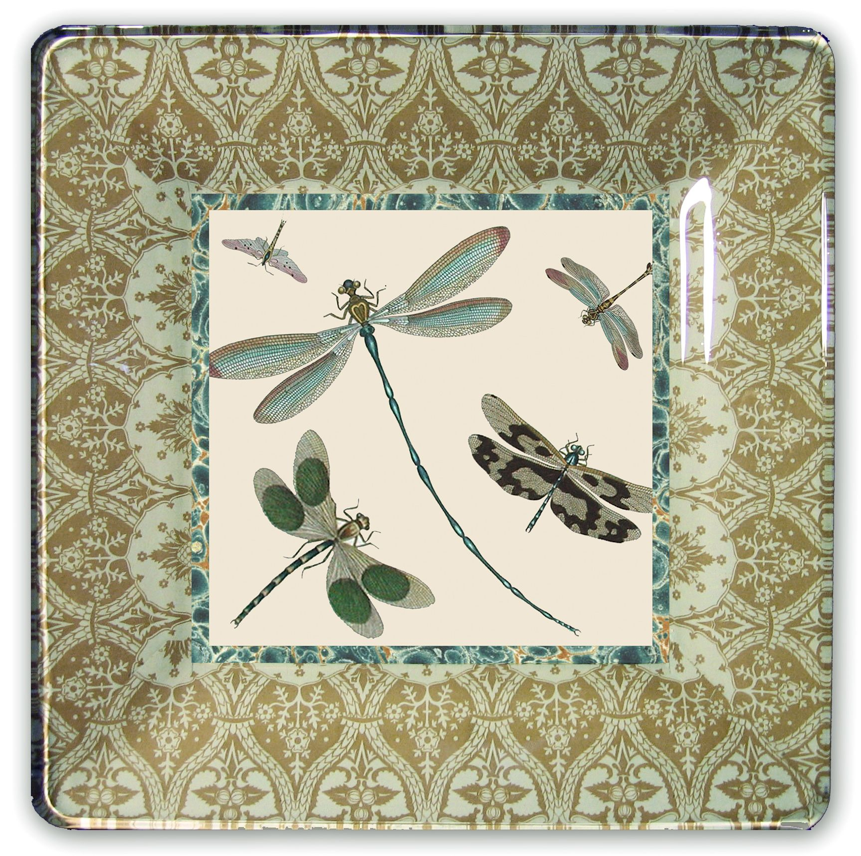 dragonfly decoupage plate: 10\