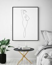 Photo of One Continuous Line Female Figure Digital Drawing, Minimalist Nude Woman Body Ar…