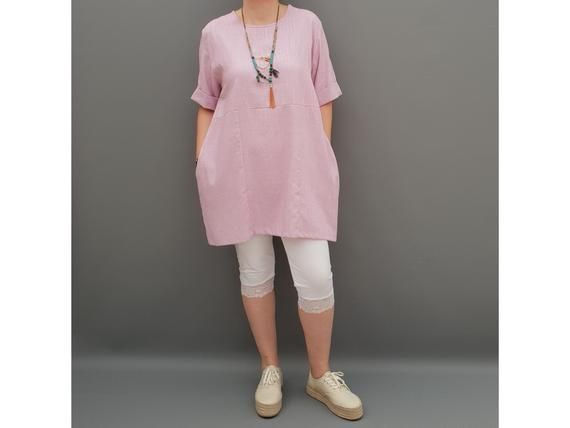 Linen Tunic Summer Top Loose Lagenlook Blouse Short Sleeve Plus Size   [l1064_pink] #linentunic
