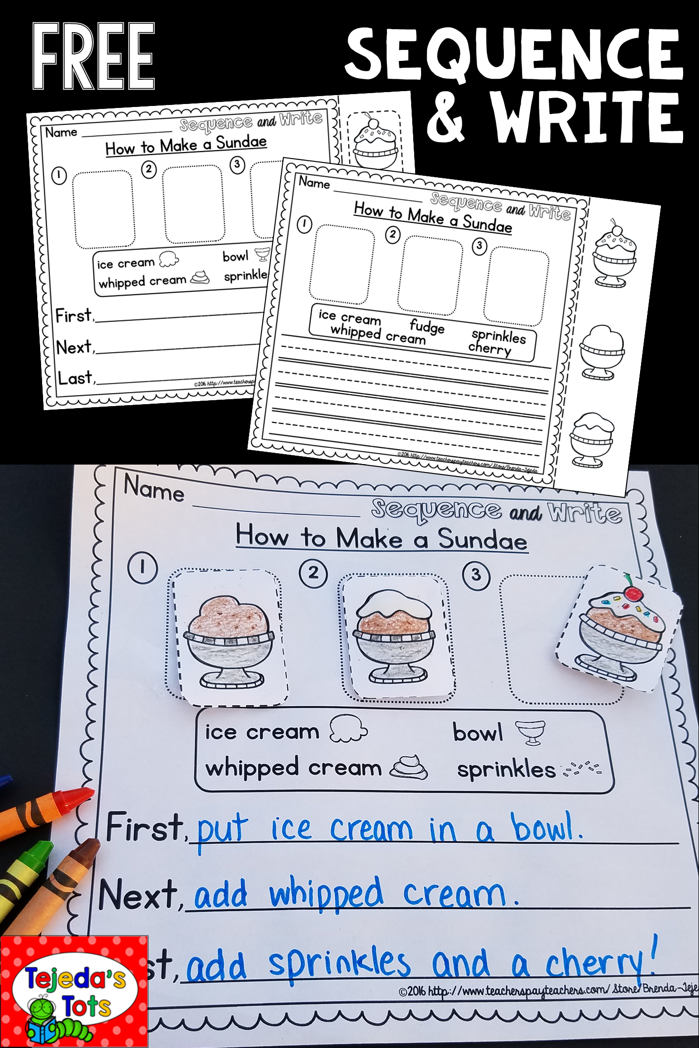 Differentiated Pages Students Sequence Pictures Then Write The Steps Sequence Writing Kindergarten Writing First Grade Writing [ 2116 x 1411 Pixel ]