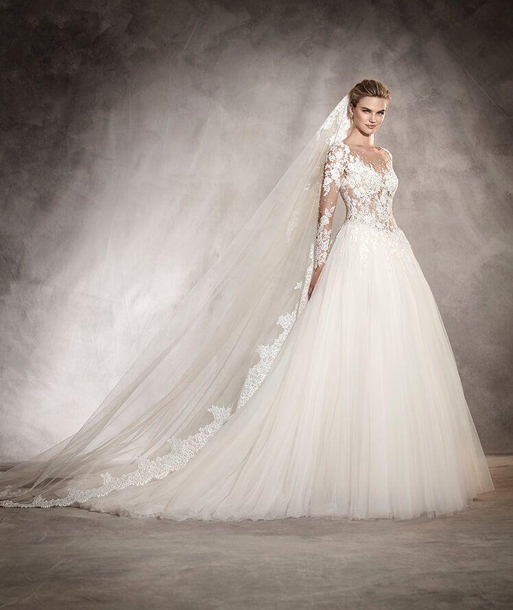 arlene - vestido de novia princesa, corte cintura, escote barco