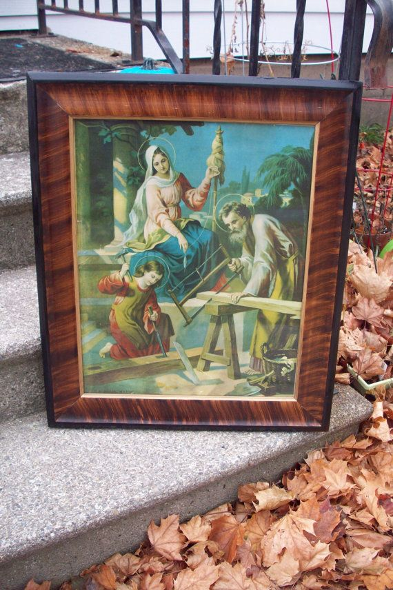 Antique Tiger style Wood Frame with print by German artist A ...
