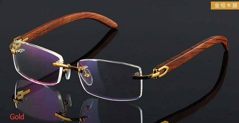 c1dd49fb48a wooden feet mens rimless eyeglass frames High-end business optical frame  men eyeglasses gold silver color china eye glasses eyewear
