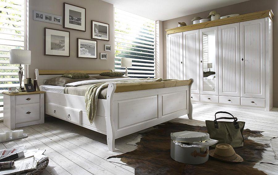 Massivholzmöbel Schlafzimmer weiss gelaugt Kiefer Möbel massiv ...