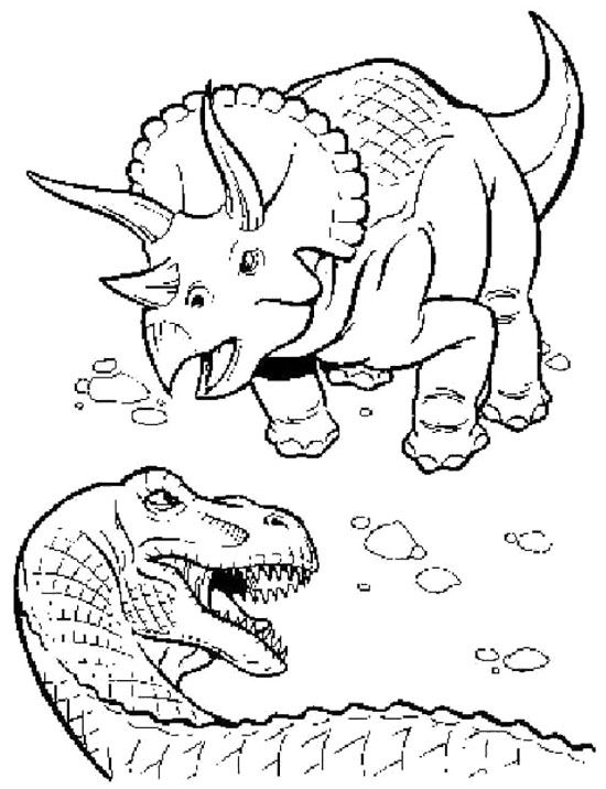 Triceratopsaurus And T-Rex Coloring Page | Dinosaur | Pinterest ...