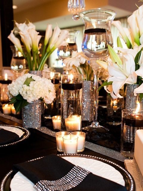 46 cool black and white wedding centerpieces decor pinterest wedding - Black and white wedding theme centerpieces ...