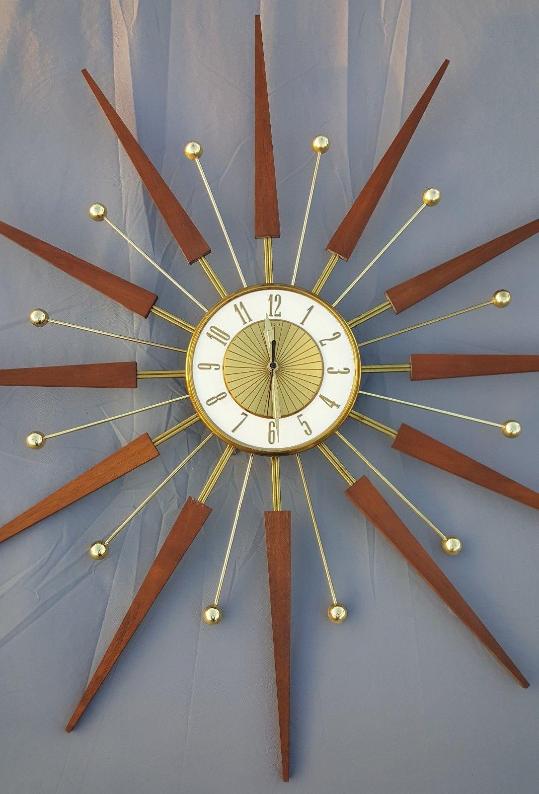 Wall Clock Mid Century Walnut Wood