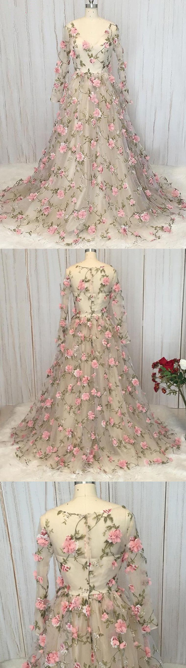 Chic aline v neck prom dress with floral long sleeve prom dresses