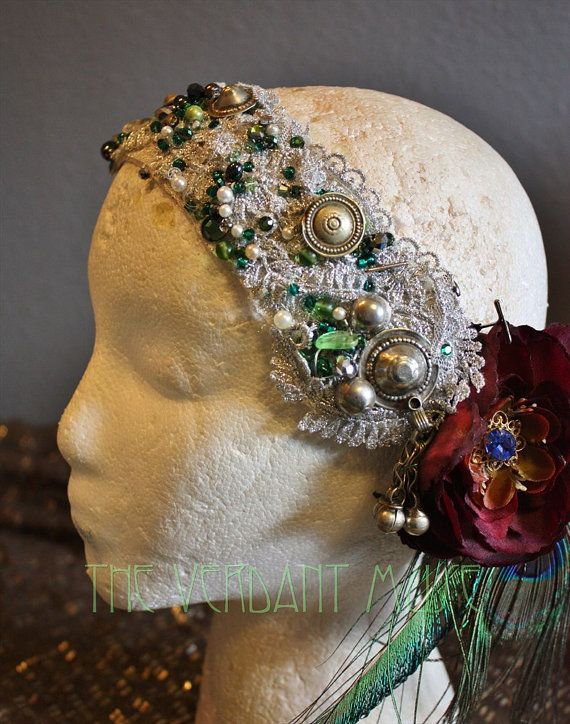 Tribal Fusion copricapo  argento & Green Sparkle di theverdantmuse