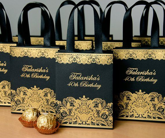 30 Black Gold Birthday Party Gift Bags With Satin Ribbon Handles And Custom Name Personalized Anni