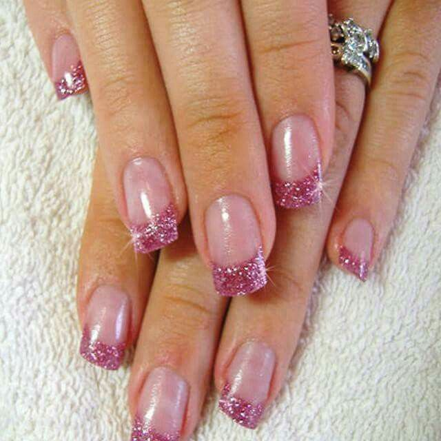 Pink Glitter Tips Glitter French Nails Pink Tip Nails Pink French Nails
