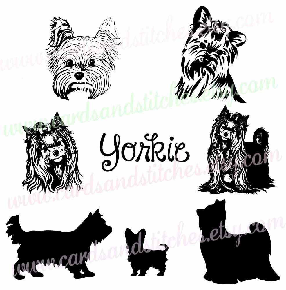 Yorkie SVG - Yorkie Silhouettes - Dog SVG - Digital Cutting File ...