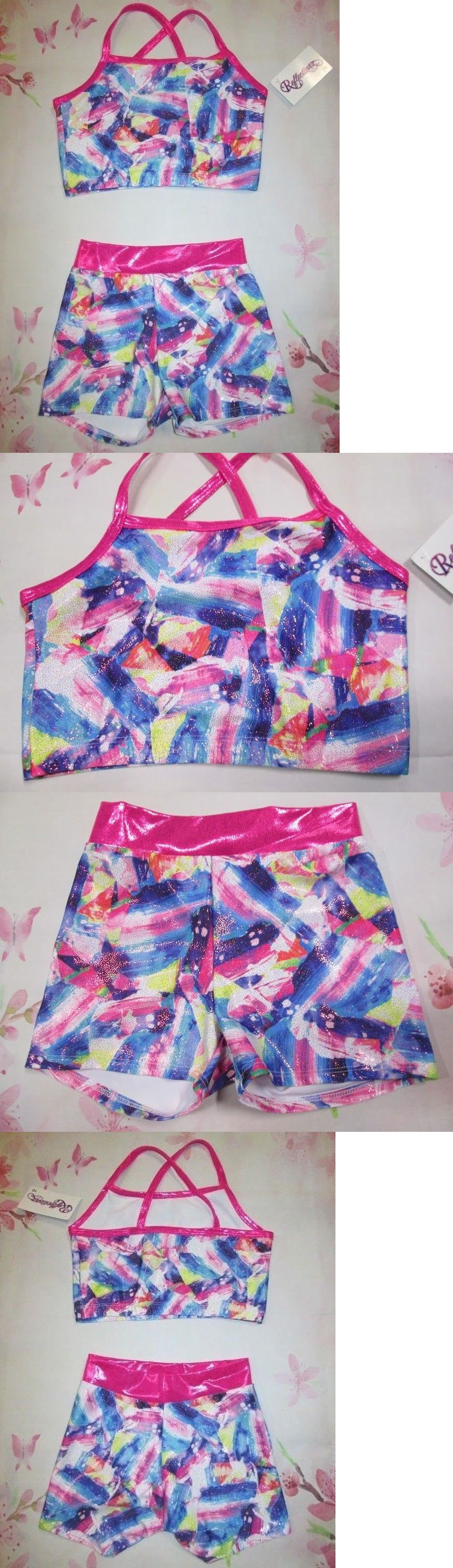 New Girls XS 4 SC Crop Bra Top Shorts Set Lot Dance Gymnastics Cheer Purple