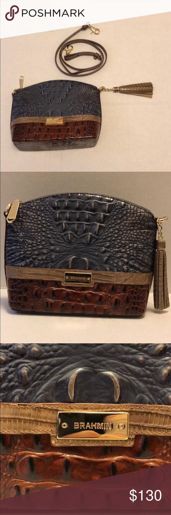 "Brahmin Embossed Leather crossbody bag 10"" W x 8"" L x 3 1"