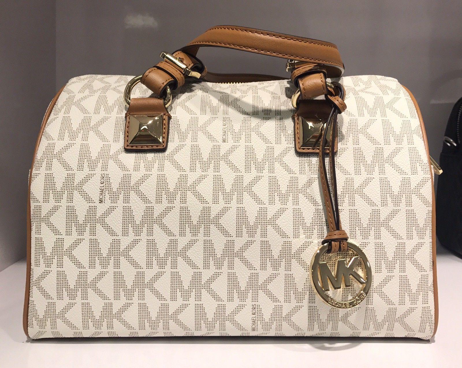 MICHAEL Michael Kors Medium Grayson Vanilla MK LOGO Satchel Bag $159.98
