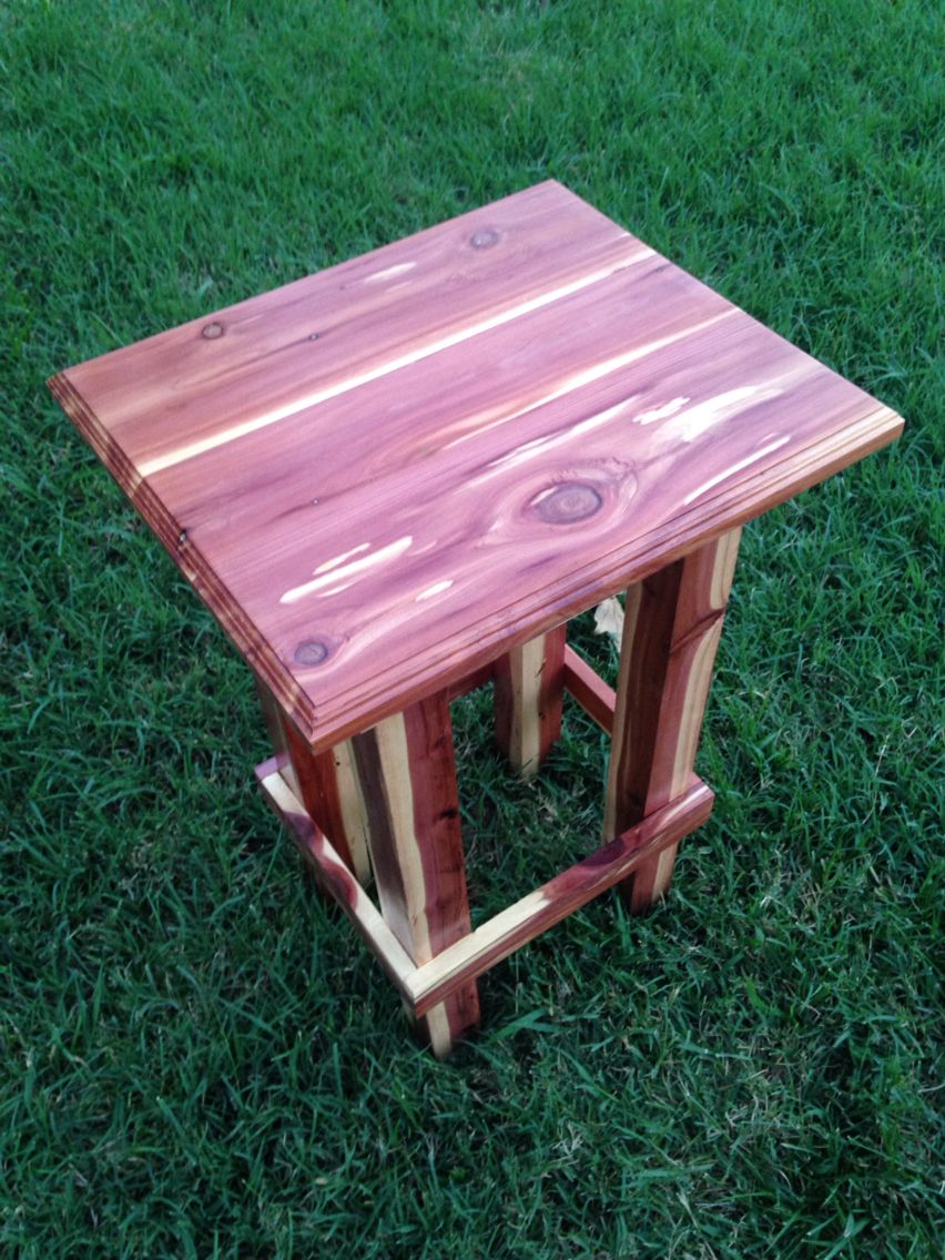 Hand Made Cedar End Table Cedar Wood Projects Cedar Furniture Woodworking Projects Furniture