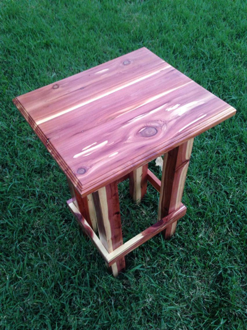 Hand Made Cedar End Table Cedar Wood Projects Cedar Furniture