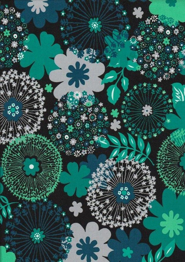 Stoff Blumen - Stretch Jersey Pusteblumen schwarz petrol ...
