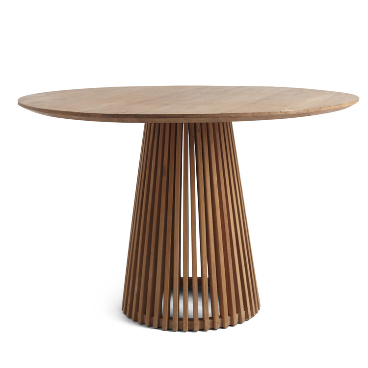 Slatted Teak Circular Dining Table With Images Circular Dining