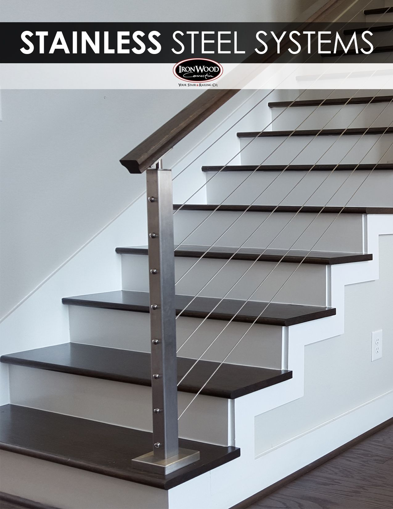 Homepage Stair Railing Design Modern Stair Railing Modern Stairs   Steel Cable Stair Railing   Diy   White   Balcony   Steel Wire   Industrial