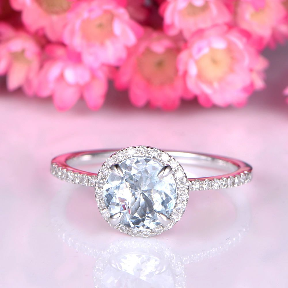 Aquamarine ring solid aquamarine engagement ring 14k white gold ...