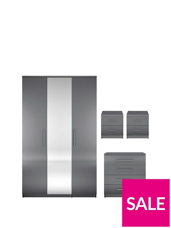 Prague Gloss 4-Piece Package - 3 Door Wardrobe, 4 Drawer Chest and 2 ...