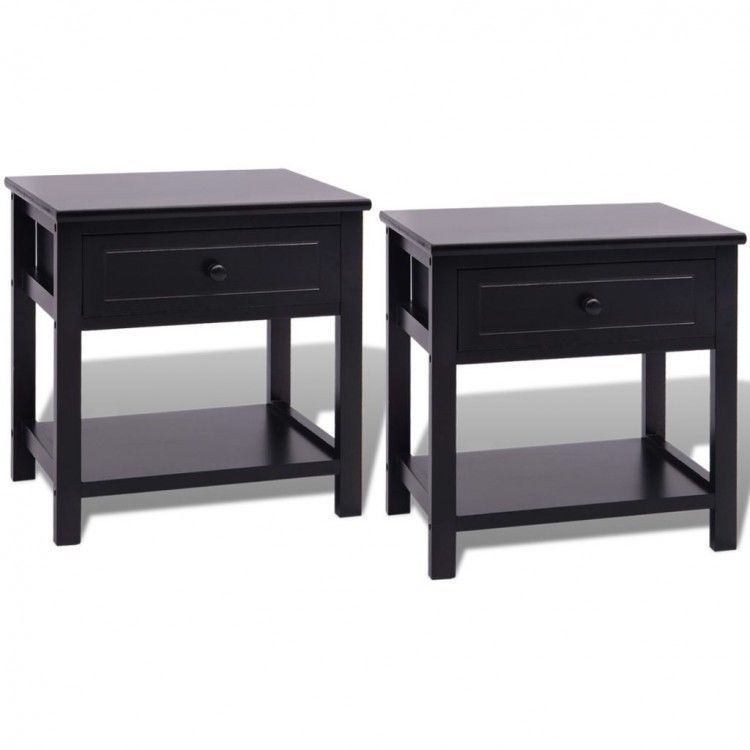 Pair Bedside Tables Modern Wooden Lamp Stand Side Cabinet Storage ...