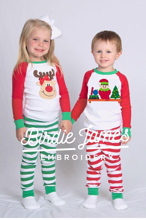 a2990b12501b Christmas pajamas with applique reindeer