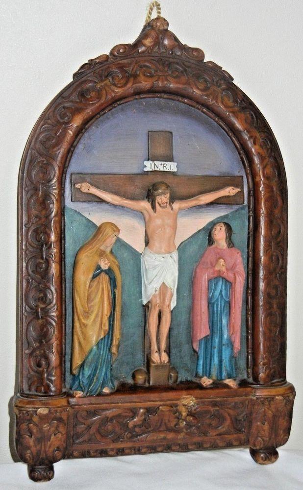 Vintage Calvary Crucifixion Of Jesus Wax Wall Hanging Beautiful Rare Crucifixion Of Jesus Crucifixion Art Prints