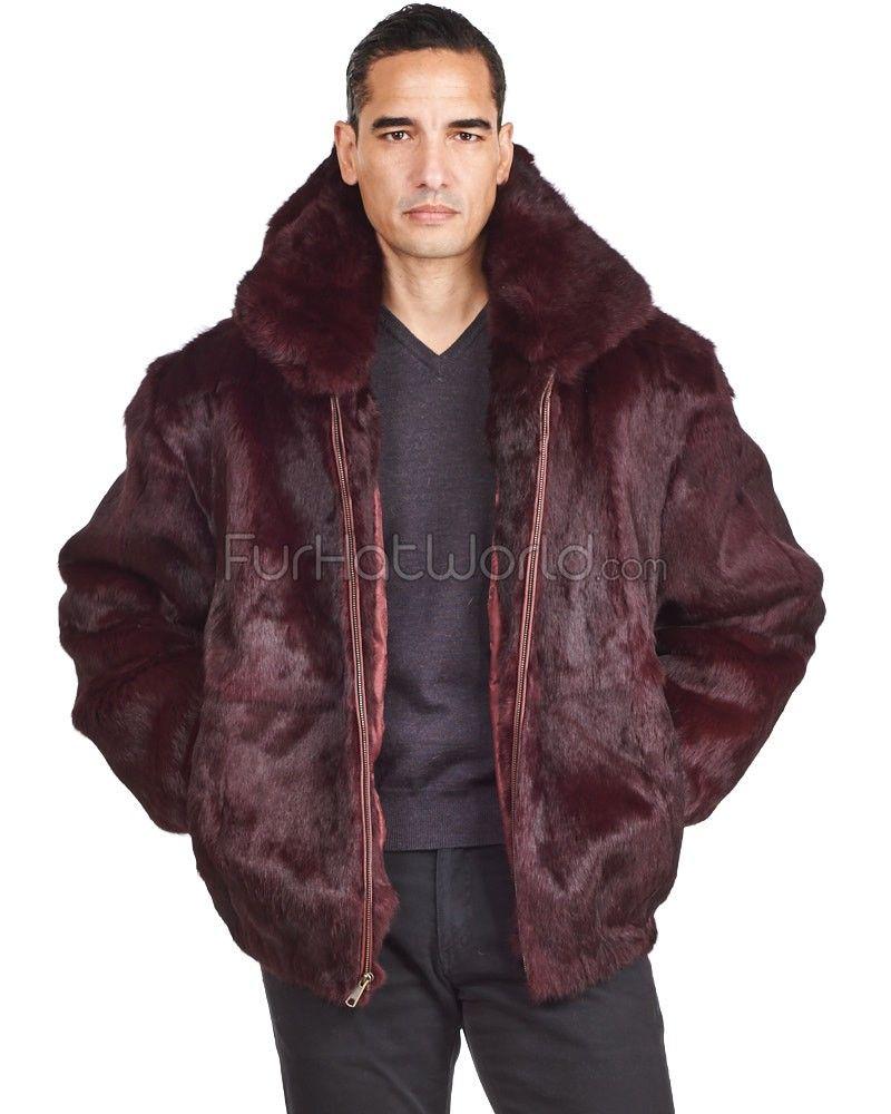 c4f716f6a646 Lucas Burgundy Rabbit Fur Bomber Jacket with Hood for Men: FurHatWorld