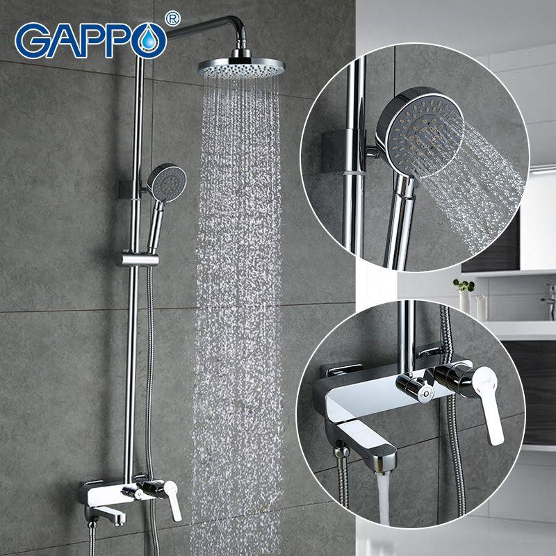 זול Gappo מקלחת חדר אמבטיה ברז אמבטיה ראש מקלחת גשם מפל מגופים סט