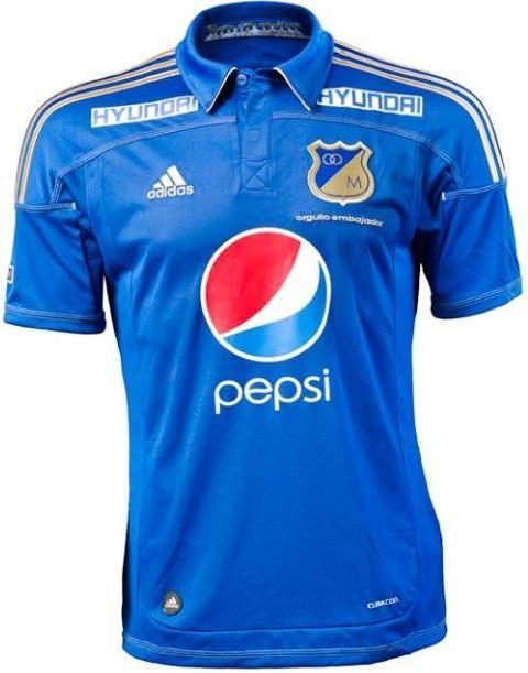 """9f6edb0100642 Camiseta Millonarios FC Orgullo Embajador. Homenaje época """"El Dorado ..."""